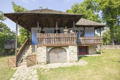 Old traditional romanian house. In open air Village Museum in Bucharest, Romania royalty free stock photography