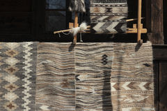Old traditional romanian wool carpets Royalty Free Stock Photography