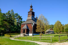 Old traditional Slovak wooden church, Stara Lubovna, Slovakia Stock Images
