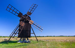 Old traditional Swedish windmill Royalty Free Stock Photos