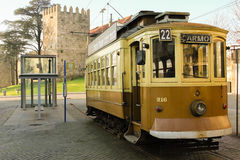 Old traditional Tram. Porto. Portugal Royalty Free Stock Photography