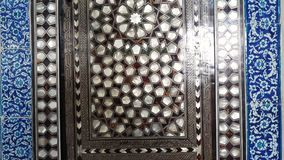 Old traditional turkish colored mosaic. Colored turkish mosaic wall with many details close up recording stock video footage