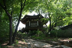 Old traditional village korean architectural pagoda Stock Photos