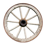 Old Traditional Wodden Wheel Isolated on White. Background Stock Photos