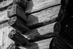 Old traditional wood barn beams and joints stock photography