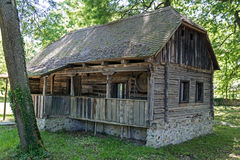 Old traditional wood house in Banat region, Romania Stock Photo