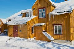 Old traditional wooden building of Skansen in Tromso, Norway. Stock Photos