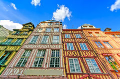 Old wooden facades in Rouen. Normandy, France. Stock Photos