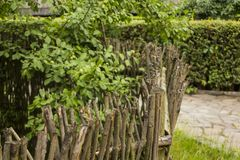 Old traditional wooden fence in Uzhgorod skansen. Ukraine.  Stock Photography