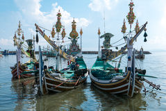 Old traditional wooden Indonesia colored boats in Bali Island, I Royalty Free Stock Images