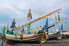 Free Old Traditional Wooden Indonesia Colored Boats In Bali Island, I Royalty Free Stock Photo - 71872895