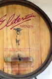 Old traditional wooden promotional barrel sign for Elderton Wines Stock Images