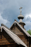 Old traditional wooden Russian Orthodox church roof Stock Images