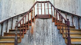 Old traditional wooden staircase in Chinese style at TrokBanChin, Tak province, Thailand Stock Photos
