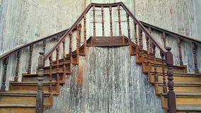 Old traditional wooden staircase in Chinese style at TrokBanChin, Tak, Thailand Stock Photos