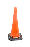 Old Traffic cone - barricade warning cones on white background, Stock Photo