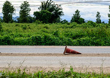Old traffic cones. On the road Royalty Free Stock Image