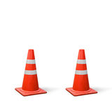 Old traffic cones on white background. Royalty Free Stock Photos