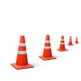 Old traffic cones on white background. Old traffic  red cones on white background Stock Photo
