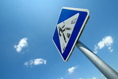 Old traffic sign. Pedestrian crossing Royalty Free Stock Photo