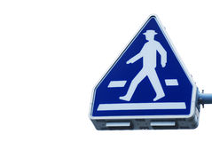 The old traffic sign pedestrian crossing. On white background Stock Photo