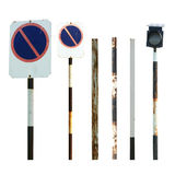 Old traffic sign and pole collections Stock Image