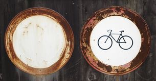 Old traffic signs. Two old Czech traffic signs - no cars do not enter no bycicles stock photo