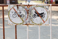 The old traffic signs. The old metal traffic signs stock images