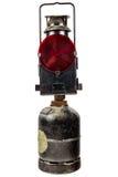 Old traffic warning light isolated on white Stock Image