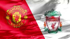 A waving flag with the Manchester United and Liverpool F.C. logos. The North West Derby is a Premier League popular football match