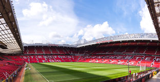 The Old Trafford stadium. MANCHESTER, ENGLAND - APRIL 13 : The Old Trafford stadium on APRIL 13,2016 in Manchester, England. Old Trafford is home of Manchester Royalty Free Stock Photos