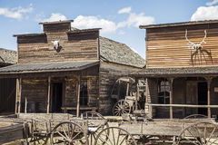 Old trail town store front western buildings Stock Image