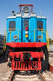 Old train. Restored old shunting locomotive on station Stock Photo