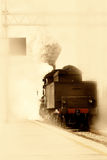 Old train. Old steam train  at the station Stock Photography