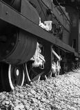 Old train. Low angle view of stopped servicing old train royalty free stock photo