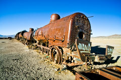 Old train. Rusty old steam locomotive near Salar de uyuni, Bolivia Royalty Free Stock Photography