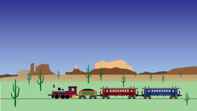 Old train. Vintage train in old west Stock Image