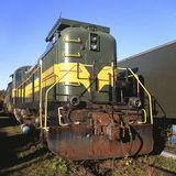 Old Train. Old rusty broken train engine at a dead-end siding Royalty Free Stock Images