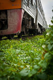 Old train. The old railroad from Bangkok to northern of Thailand royalty free stock photo