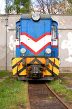 Old train. Old electric blue train on the railroad Stock Photo