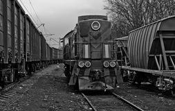 Old train. Old diesel locomotive train in Black and White Royalty Free Stock Photo