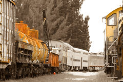 Old trains on trainyard Royalty Free Stock Images