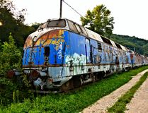 Old train. Old abandoned locomotive / Abandoned train / Blue train, Belgrade, Serbia Stock Images