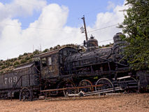 Old Train of Atchison Topeka and Santa Fe Railway in Madrid New Mexico USA royalty free stock photography