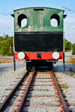 Old train. Back view of old train on railway Royalty Free Stock Photography