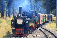 Old train on the Brockenbahn in Harz, Germany stock images