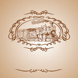 Old Train Brown Vector Banner Royalty Free Stock Image