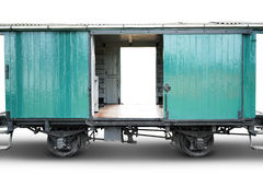Old train cargo on white. Image of empty old train cargo with green color, isolated on white background Stock Image