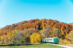 Old train in carpathian mountains royalty free stock photo