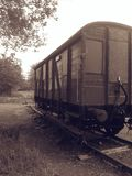 Old train carriage left on disused rail tracks. Old train carriage left disused rail tracks stock photography